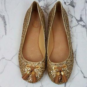 Sperry Top-Sider Gold Glittery Ballet Flats